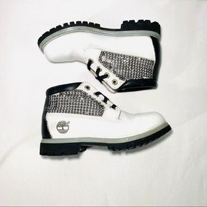 Timberland Customized White Ankle Boots, Size 5